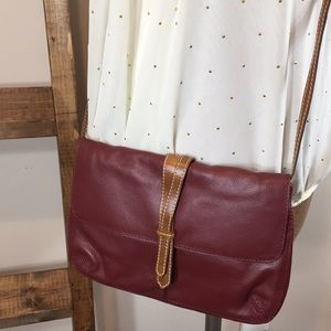 Nino Bossi Red and Tan Leather Cross Body Bag